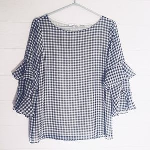 Calvin Klein Check blouse Ruffled Sleeve Sz S
